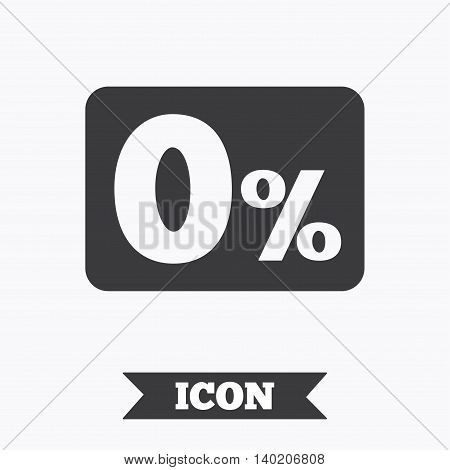 Zero percent sign icon. Zero credit symbol. Best offer. Graphic design element. Flat zero credit symbol on white background. Vector