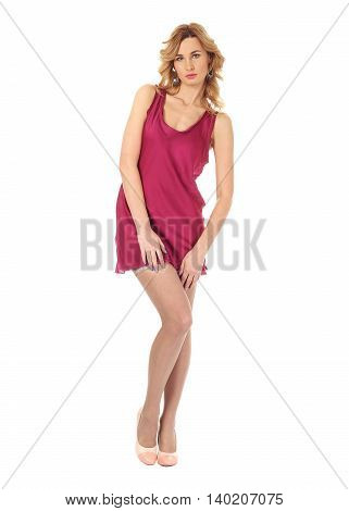 Young Beautiful Wife In Burgundy Peignoir