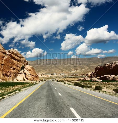 Asphalt road in mountains