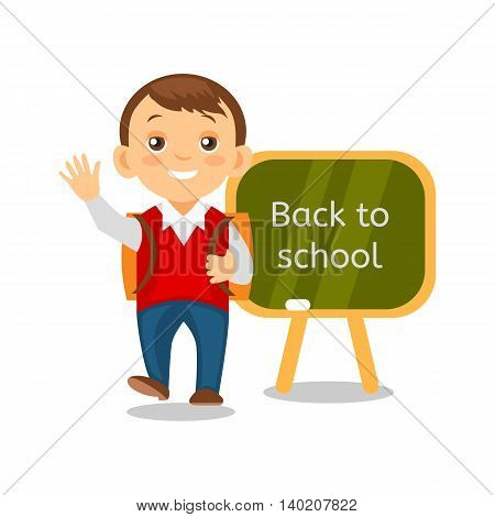 Happy schoolboy with a briefcase back to school education background. Cartoon pupil isolated. Vector eps 10 format.