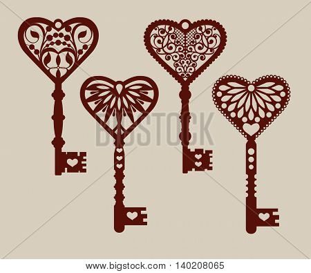 Collection of templates of decorative keys for laser cutting paper cutting stencil making. The image is suitable for interior design props wedding Valentine's day individual creativity