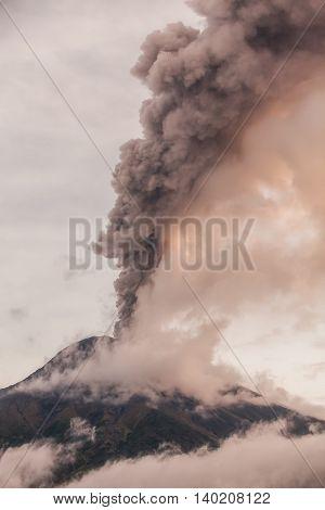 Smoke Rises From Tungurahua Volcano February 2016 Ecuador