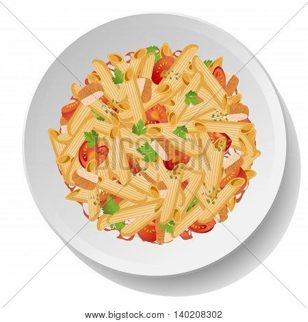 Pasta macaroni penne salad withfried chicken tomato parsley leaves oregano and red sauce on plate. Vector colour close-up top view illustration of tasty fresh italian traditional meal on white background.