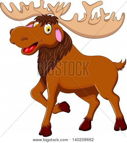 cute moose cartoon walking for you design