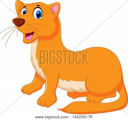 funny Weasel cartoon sitting for you design
