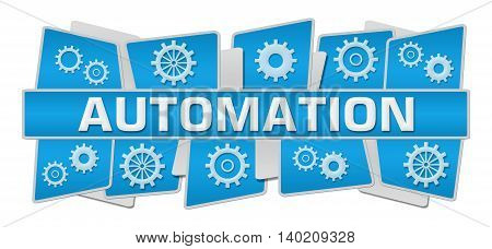 Automation concept image with text and related symbols.