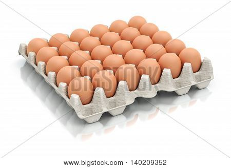 Thirty eggs in a carton package - 3D illustration