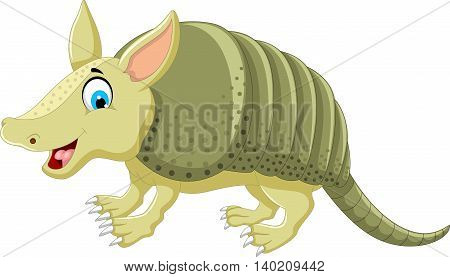 funny armadillo cartoon posing for you design