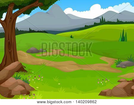 beauty green grass with forest landscape background