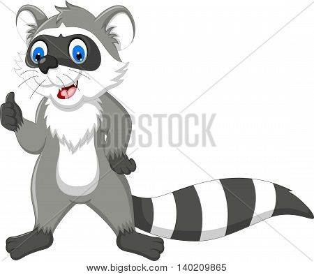 funny raccoon cartoon standing with thumb up