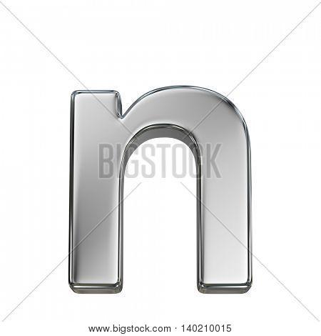 Chrome solid alphabet isolated on white - n lovercase letter