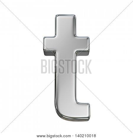Chrome solid alphabet isolated on white - t lovercase letter