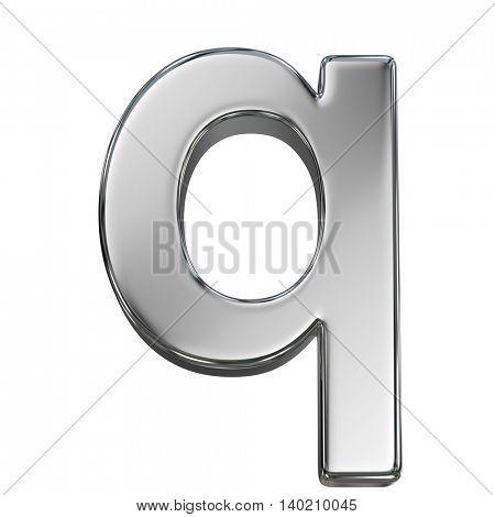 Chrome solid alphabet isolated on white - q lovercase letter