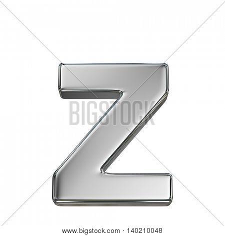 Chrome solid alphabet isolated on white - z lovercase letter