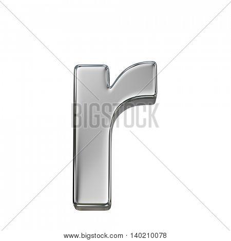 Chrome solid alphabet isolated on white - r lovercase letter