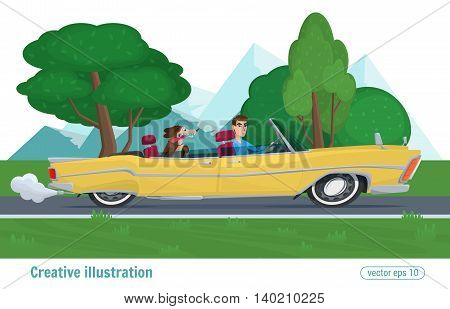 Man Rides On A Yellow Convertible With The Dog Car Driving On Road. Vector Illustration Cartoon Male