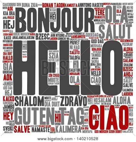 Vector concept or conceptual abstract square hello or greeting international word cloud in different languages or multilingual