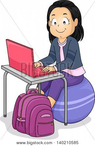 Illustration of a Little Girl Sitting on an Exercise Ball While Using Her Laptop
