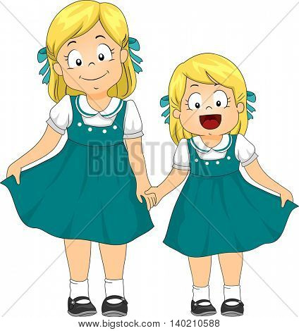 Illustration of a Pair of Sisters Dressed in Matching Vintage Dresses