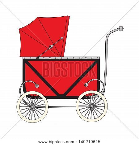 Vintage old authentic vintage stroller with little wheels for newborn baby.