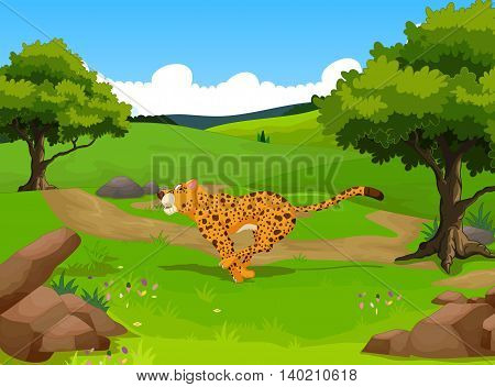 funny cheetah cartoon running with forest landscape background