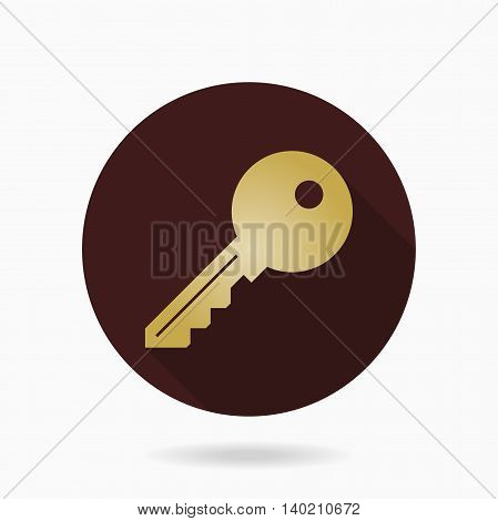 Fine golden key icon in the brown circle. Flat design and long shadow