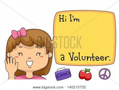 Illustration of a Young Volunteer Introducing Herself