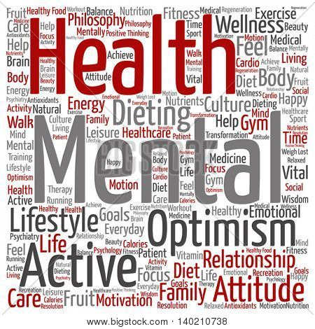Vector concept or conceptual mental health or positive thinking abstract square word cloud isolated on background