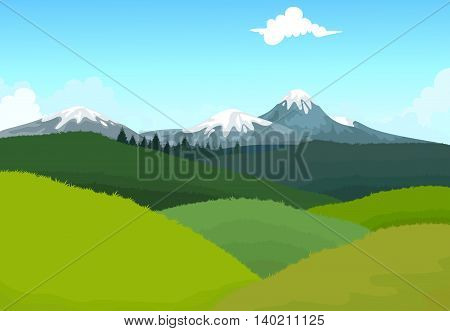 beauty green hilly mountain with landscape background