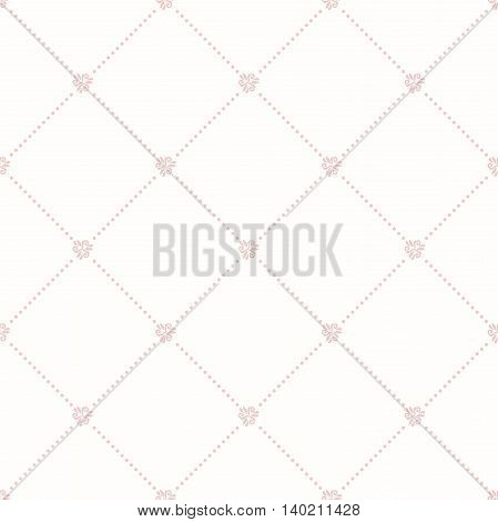 Geometric repeating ornament with diagonal dotted lines. Seamless abstract modern pink pattern