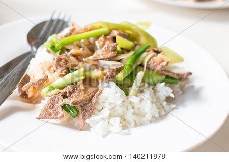 Fried Stir Pork Liver With Sweet Pepper , Thai Food