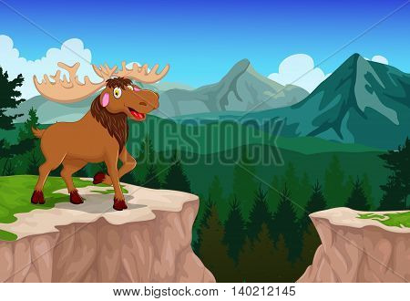 funny moose cartoon with mountain cliff landscape background