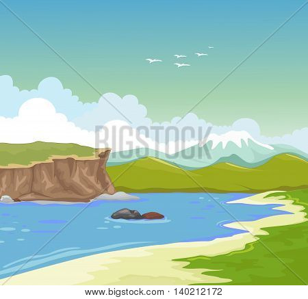 beauty lake with green grass landscape background