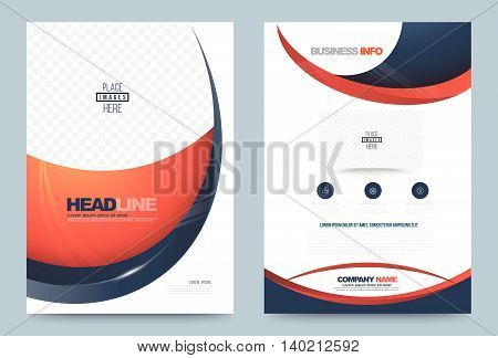 Annual report brochure flyer design template vector curve style Leaflet cover presentation abstract technology background layout in A4 size. Vector illustration.