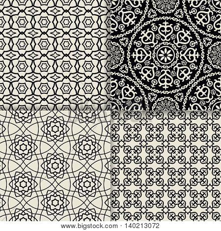 Black and white geometric ornate patterns. Vector illustration