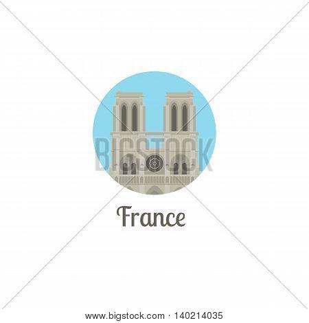 France landmark isolated round icon. Vector illustration