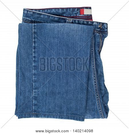 Blue jeans isolated on white background. Top view.