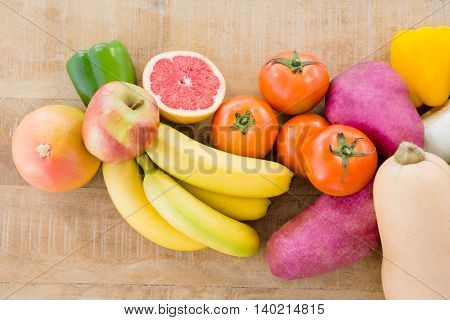 High angle view of various fruits and vegetables on table