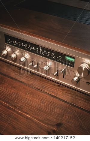 Receiver vintage wooden background. Stereo Receiver, Dial Pointer