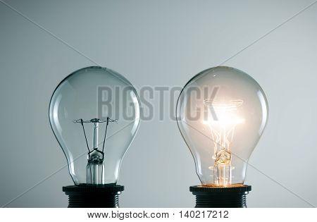 idea concept with light bulbs against wall