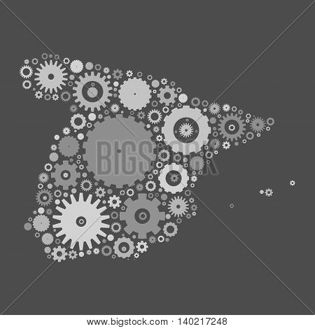 Spain map silhouette mosaic of cogs and gears. Grey vector illustration on gray background.