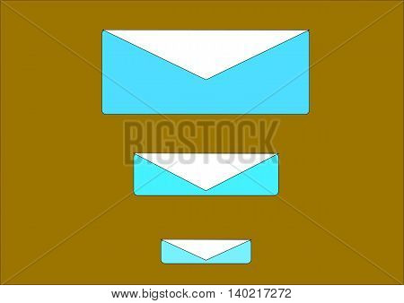 illustration which depicts three postal envelope on a dark background