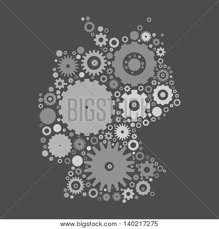 Germany map silhouette mosaic of cogs and gears. Grey vector illustration on gray background.