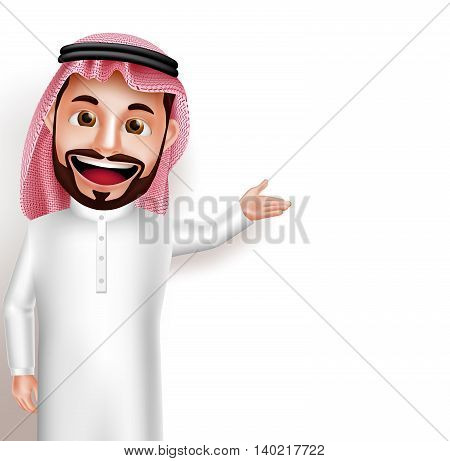 Saudi arab man vector character wearing thobe happy showing empty white space for message and text. Vector illustration.