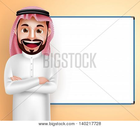 Saudi arab man vector character wearing thobe speaking with blank white board in the background. Vector illustration.