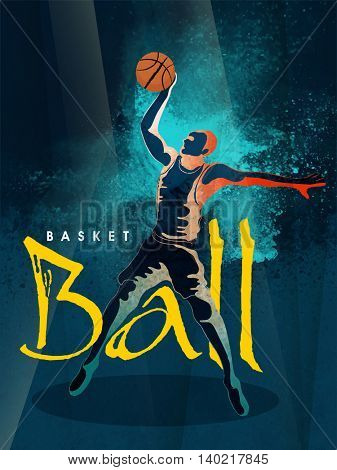 Creative illustration of Basketball player in playing action on stylish abstract blue background for Sports concept.
