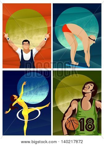 Set of four different games players for Sports concept.