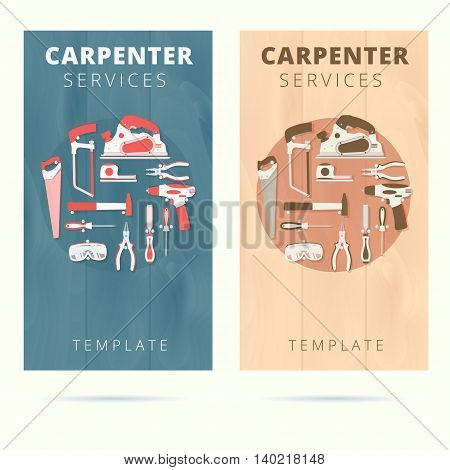 Carpenter service vector business card concept design. Woodworker banner background with tools and equipment