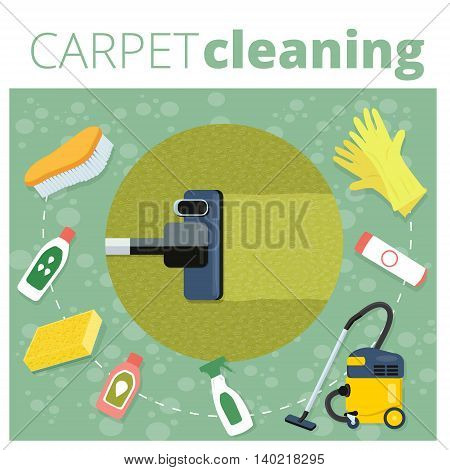 Carpet cleaning service vector illustration. Business concept design. Housework tools and sanitizing moistures