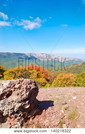 Crimean mountains. Mountains in Crimea at the sunny summer day.